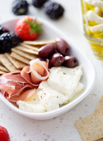 Marinated AIP Mozzarella Cheese on plate