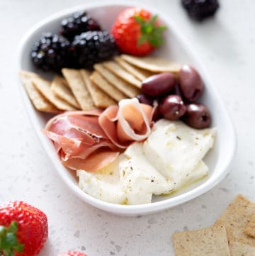 charcuterie plate with Marinated AIP Mozzarella Cheese