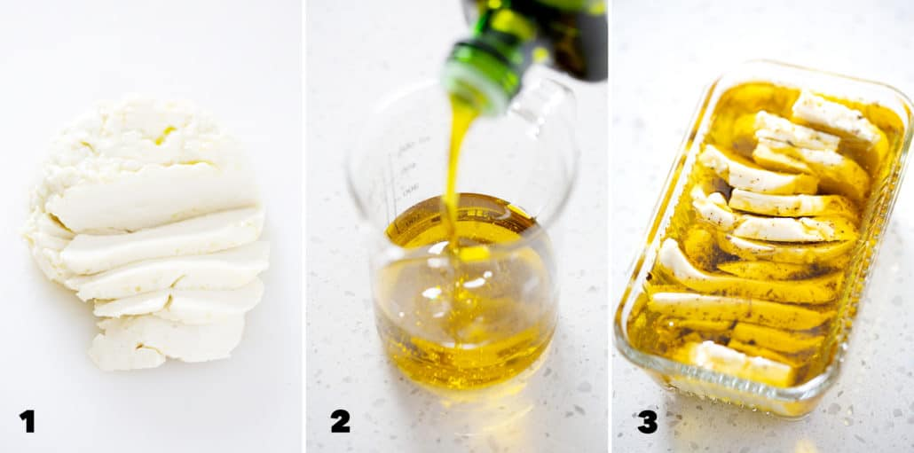 step by step instructions for making Marinated AIP Mozzarella