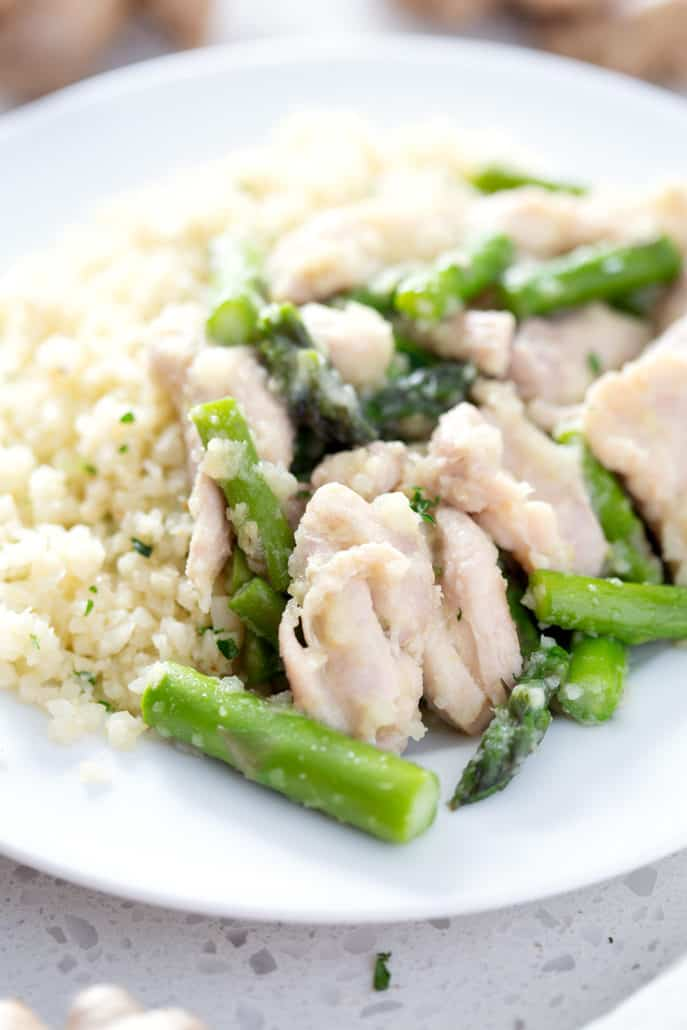 close up of AIP Ginger Chicken and Asparagus Stir Fry