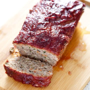 AIP meatloaf covered in AIP Ketchup