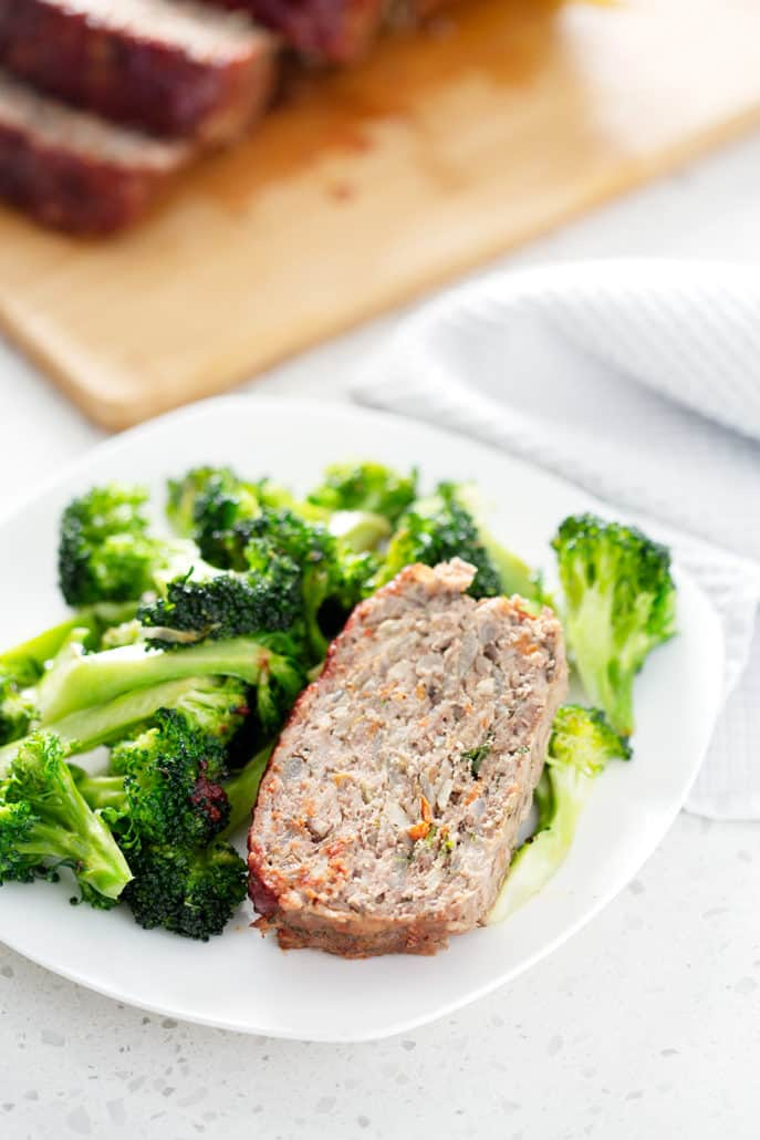 meatloaf on plate with broccoli