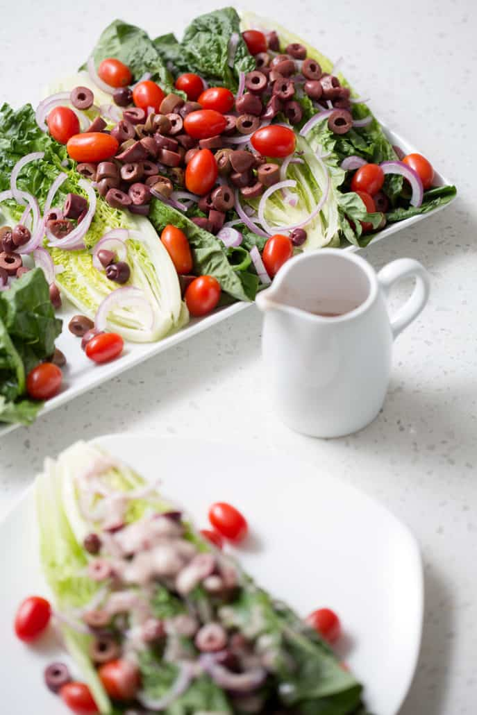 platter and plate of AIP Mediterranean Salad with Red Wine Vinaigrette