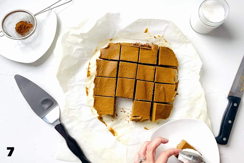 step 7 for making AIP Pumpkin Pie Bars