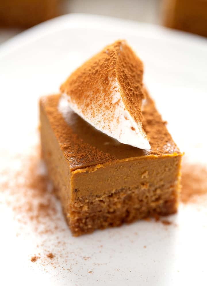 AIP Pumpkin Pie Bars with topping on white plate